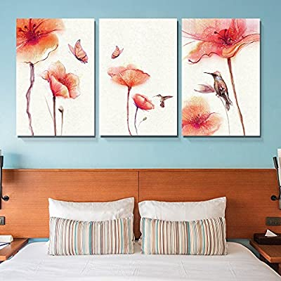 3 Panel Canvas Wall Art - Watercolor Painting Style Birds Butterflies and Red Flowers - Giclee Print Gallery Wrap Modern Home Art Ready to Hang - 24
