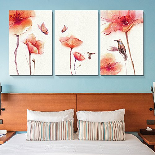 3 Panel Watercolor Painting Style Birds Butterflies and Red Flowers x 3 Panels