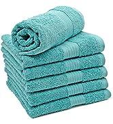 ZOLLNER 6er Set Handtücher aus 100% Baumwolle, 550 g/qm, ca. 50x100 cm, blau