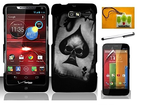 ner hard Case Cover, Stylus Pen, Screen Protector & Wiper For Verizon Motorola Droid Razr M XT907 Razr i XT890 (Designer Spade Skull) (Motorola Razr Snap Cases)