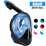 TriMagic Full Face Snorkel Mask, 180° Panoramic View Snorkeling Mask Set, Easy Breath, Anti-Fog, Anti-Leak, with Detachable for Camera Mount (Black&Blue)