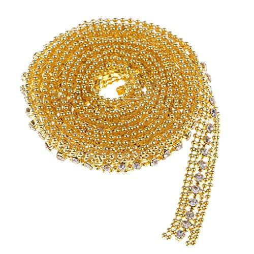 IPOTCH 1ヤード リボン トリム チェーン クリスタル ビーズ ラインストーン 手芸 DIY ゴールデンの商品画像
