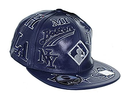 db592a58828 Negro League Baseball Fitted Leather Hat Embroidered Logo Cap - Navy Blue (M