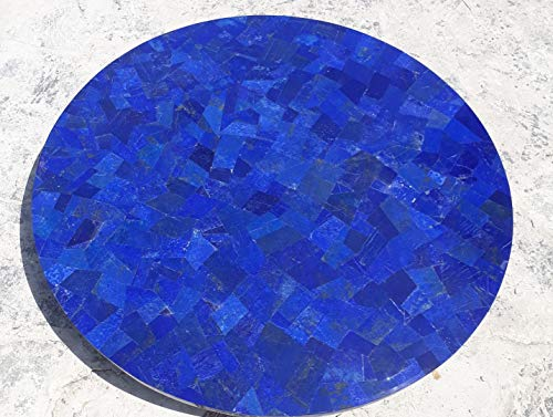 48 Inches Rounded Marble Sofa Table Top, Coffee Table Shiny Lapis Lazuli Stone at Random Inlaid Work, Assent Home Furniture