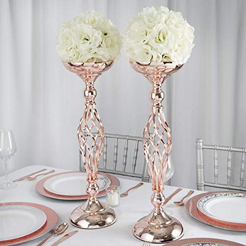 Efavormart Set of 2 Rose Gold Metal Wedding Flower Decor Candle Holder Vase Dining Room Coffee Table Decorative Centerpiece 19.5