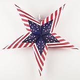 Quasimoon PaperLanternStore.com 24'' USA Flag Red, White, Blue Paper Star Lantern, Hanging Decorationby