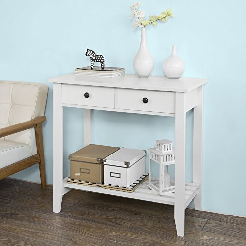 Haotian Console Table,Hall Console Tables, Accent Table,Entryway Table Wood with 2 Drawers and 1 Shelf,FSB04-W,White by Haotian