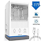 OPOLAR Portable Air Conditioner Fan, Evaporative Air Cooler, USB Power Oscillating Tower Fan, 55°Oscillating, Personal Space Humidifier Misting Desk Fan, 3 Speed for Outdoor Camping Home Office Dorm