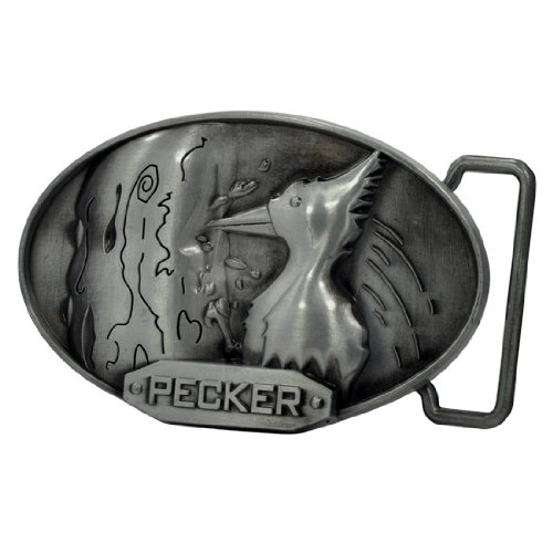 Buckle Rage Adult Mens 3D Wood Pecker Bird Pun Funny Belt Buckle Oval Silver (Belt Buckle Funny Cool)