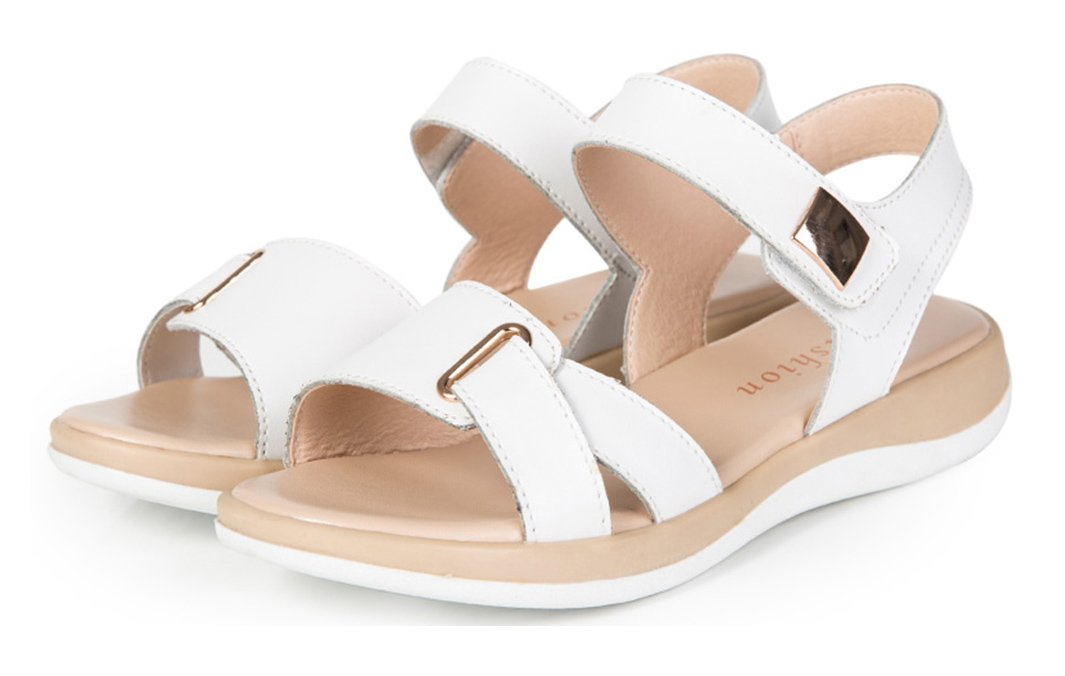 COSDN Women's Fashion and Simple Orthopedic Form Buffalo Leather Sandals Size 8.5 White
