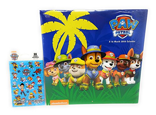 Paw Patrol Calendar 2018 16 Month with Added Paw Patrol Stickers To Mark Special Dates