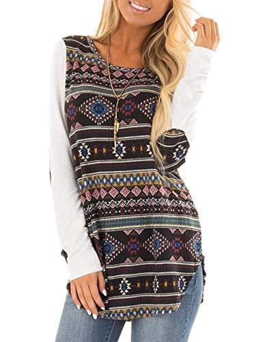 BMJL Women's African Print Long Sleeve T Shirt Hem Blouse Color Block Loose ()