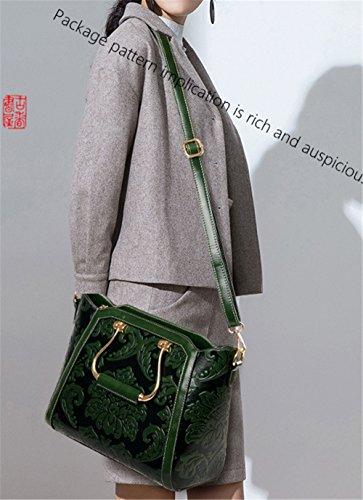 La mujer china Xinmaoyuan Bolsos Bolso flor la presión del viento patrón floral solo hombro Satchel Retro dama bolsa,rojo Green