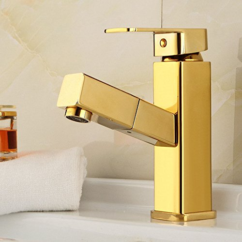Lalaky Taps Faucet Kitchen Mixer Sink Waterfall Bathroom Mixer Basin Mixer Tap for Kitchen Bathroom and Washroom Full Copper Plated Single Handle Single Hole Square Pull Type