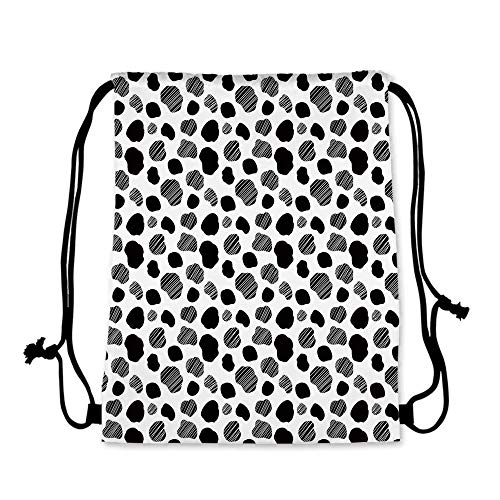 Cow Print Practical Drawstring Bag,Black and White Striped Dots with Abstract Style Farm Animal Hide Agriculture for Women,17.7''L x 36''W