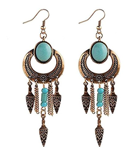 Darkey Wang Retro Fashion Bohemian Atmosphere Turquoise Tassel National Style Earrings(Gold)