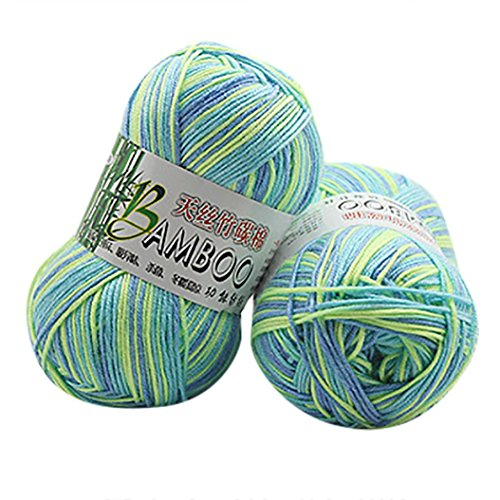 Makaor Fibre Wool Yarn Roving,Bamboo Soft Knitting Crochet For Hand Spinning DIY (A, Unit skein Weight: 50g per ()