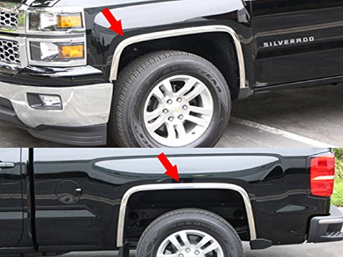 QAA FITS SILVERADO 2016-2018 CHEVROLET (4 Pc: Stainless Steel Fender Trim - Clip on or screw in, hardware included, 1500 LD ONLY) WZ56181