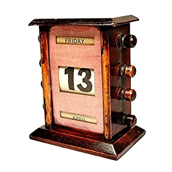 Super Antique Early 20th Century Mahogany Perpetual Desk Calendar
