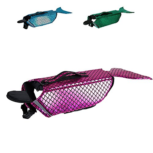Urijk Dog Life Jacket Mermaid, Ripstop Pet Floatation Life Vest, Adjustable Dog Lifesaver Lifejackets Safety Preserver Swimsuit for Small Medium Large Dogs at Pool, Beach or Boating (S, Rose Red) by Urijk