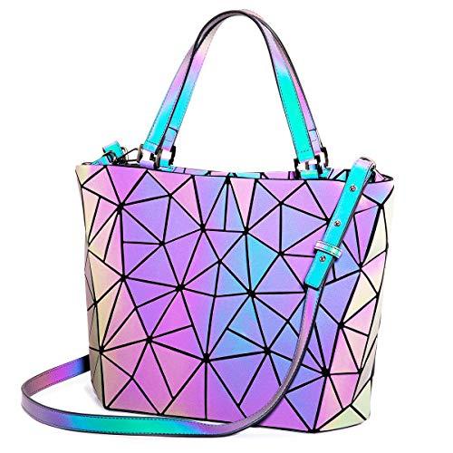 Holographic Handbag Luminous Geometric Bag Reflective Purse Tote Shoulder Bags for Women Designer