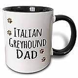 3dRose 3dRose Italian Greyhound Dog Dad - Doggie by breed - brown paw prints - love doggy lover proud pet owner - Two Tone Black Mug, 11oz (mug_153929_4), , Black/White