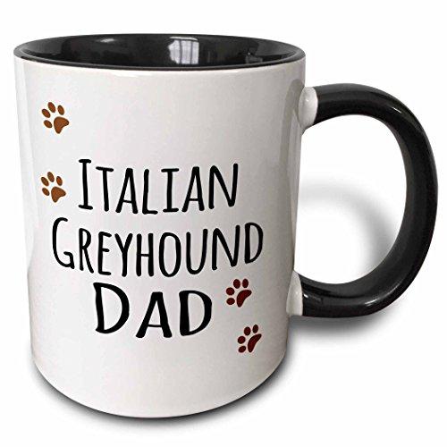 3dRose 153929_4 Italian Greyhound Dog Dad - Doggie by breed - brown paw prints Mug, 11 oz, Black ()