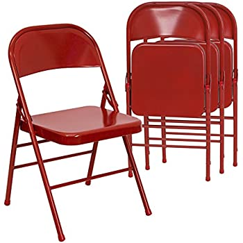 Flash Furniture 4 Pk. HERCULES Series Triple Braced U0026 Double Hinged Red  Metal Folding Chair