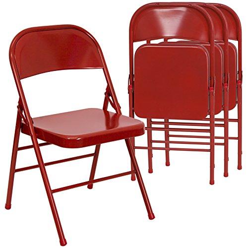 Flash Furniture 4 Pk. HERCULES Series Triple Braced & Double Hinged Red Metal Folding Chair