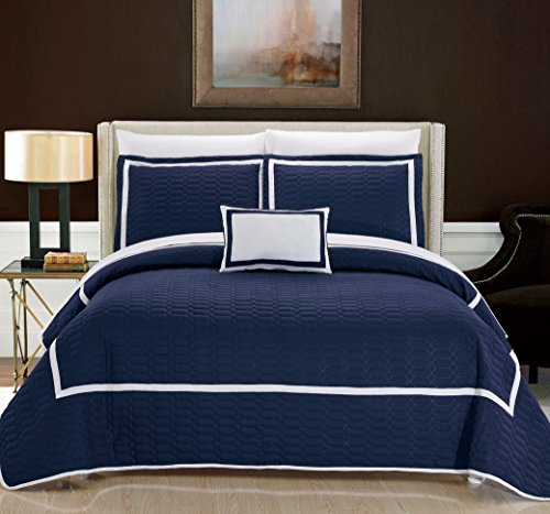 Chic Home Mesa 8 Piece Cover Set Hotel Collection Two Tone Banded Geometric Embroidered Quilted Bag Bedding, Queen, Navy