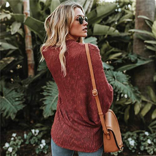 Shirt Manches Vrac Uni Rouge en Couleur Femme Sweatshirt Bringbring Blouse Longues Pull T Hauts UnUBfI8
