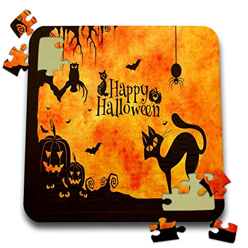 Sandy Mertens Halloween Designs - Cat, Owl, Bats, Spider, Jack o Lanterns Silhouettes, 3drsmm - 10x10 Inch Puzzle (pzl_290231_2) ()