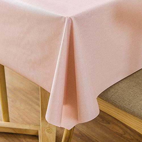 Pink Vinyl Tablecloth (LEEVAN Heavy Weight Vinyl Square Table Cover Wipe Clean PVC Tablecloth Oil-Proof/Waterproof Stain-Resistant-54 x 72 Inch)
