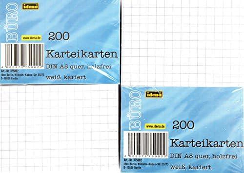 Idena 375041 - Karteikarten, 180 g/m², DIN A8, blanko, 200 Karten, 1 Set