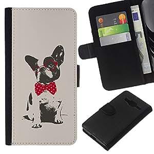 KingStore / Leather Etui en cuir / Samsung Galaxy Core Prime / Pug Polka Dot Rouge Gris