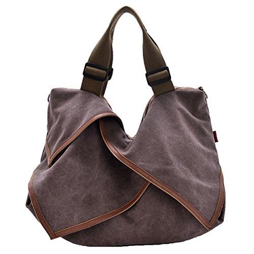 Win8Fong lienzo Casual de la mujer grande bolso bandolera estudiantes bolso Cruz Cuerpo bolsas de moda moderna Cameo Brown