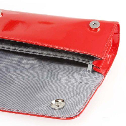BMC Borsetta clutch da donna in similpelle con tracolla Rosso seducente