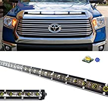 "iJDMTOY 36"" Ultra Slim 108W High Power CREE LED Light Bar w/ Hood Scoop Bulge Mounting and On/Off Switch Relay Wire For 2014-up Toyota Tundra"