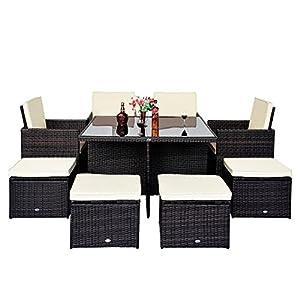 9pc rattan garden furniture aluminium outdoor patio set for Amazon muebles terraza