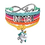 Myhouse  Cute Unicorn Bracelet Wristband Handmade Rainbow Jewelry Infinity Love Charm Gifts (White Green Unicorn)