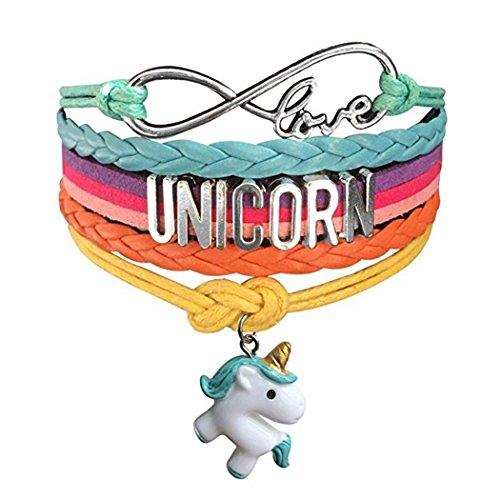 Myhouse Cute Unicorn Bracelet Wristband Handmade Rainbow Jewelry Infinity Love Charm Gifts (White Green Unicorn) ()