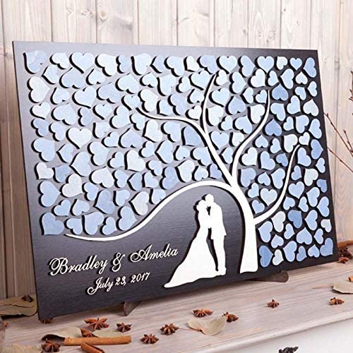 Wooden Personalised Hearts Family Tree Wedding Guestbook Decoration Family Name