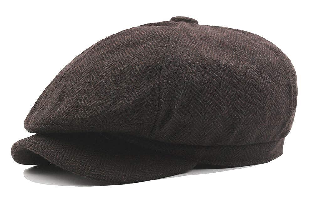 UwantC Mens 8 Panel Octagonal Caps Wool Blend Warm Newsboy Flat Cap Painter Beret Hat
