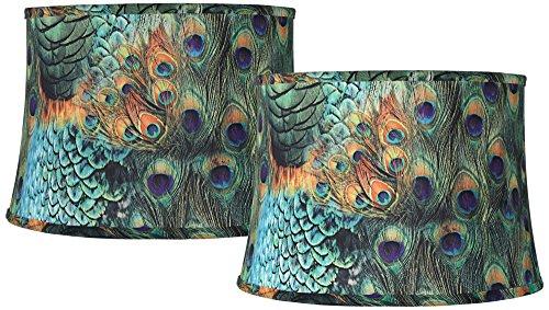 Green Shade Floor Lamp - Set of 2 Peacock Print Drum Lamp Shades 14x16x11 (Spider)