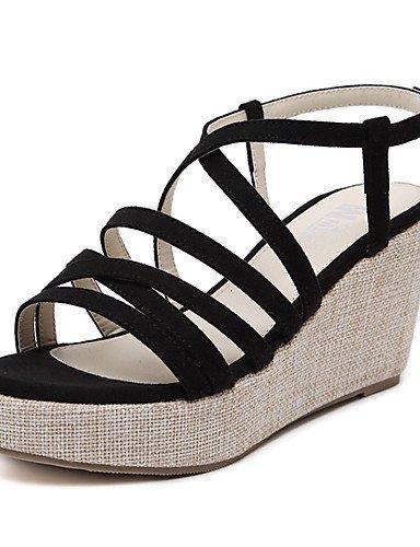 ShangYi Women's Shoes Leatherette Wedge Heel Open Toe Sandals Party  Evening / Dress Black / Almond