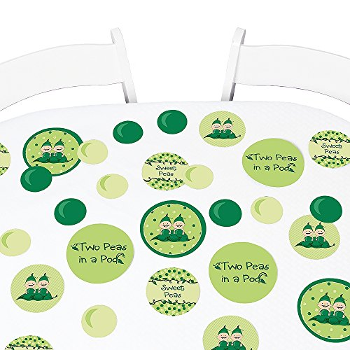(Big Dot of Happiness Twins Two Peas in a Pod - Baby Shower or Birthday Party Giant Circle Confetti - Party Decorations - Large Confetti 27 Count)
