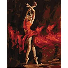 [ New Release, Wooden Framed or Not ] Diy Oil Painting by Numbers, Paint by Number Kits - Shadow Fire Dancer 16*20 inches - PBN Kit for Adults Girls Kids Christmas - D87