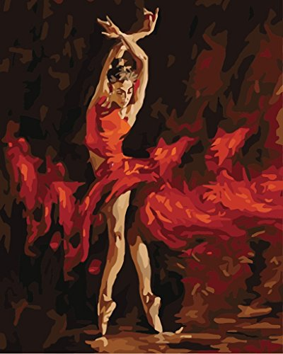 YEESAM ART DIY Paint by Numbers for Adults Beginner Kids, Shadow Fire Dancer Girl 16x20 inch Linen Canvas Acrylic Stress Less Number Painting Gifts (Dancer, Without Frame) -