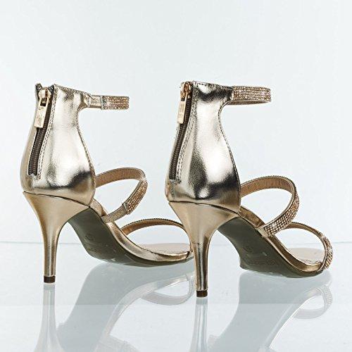Bamboo Triple Rhinestone Encrusted Strap On Mid Heel Open Toe Dress Sandal Rose Gold 0qu70n