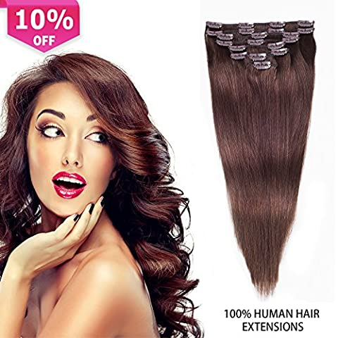 Clip In Hair Extensions 8pcs 100g Remy Human Hair Extensions Dark Brown Thick Clip In Human Hair Extensions(14 inch, #2(Dark (Dark Layers Volume 2 Volume 1)